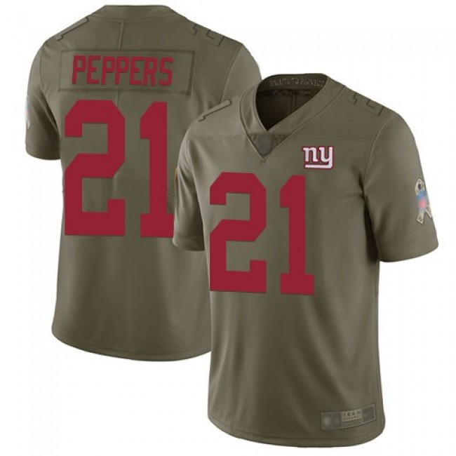 Nike Giants #21 Jabrill Peppers Olive Men's Stitched NFL Limited 2017 Salute to Service Jersey