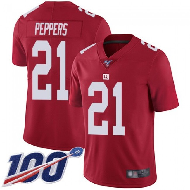 Nike Giants #21 Jabrill Peppers Red Alternate Men's Stitched NFL 100th Season Vapor Limited Jersey