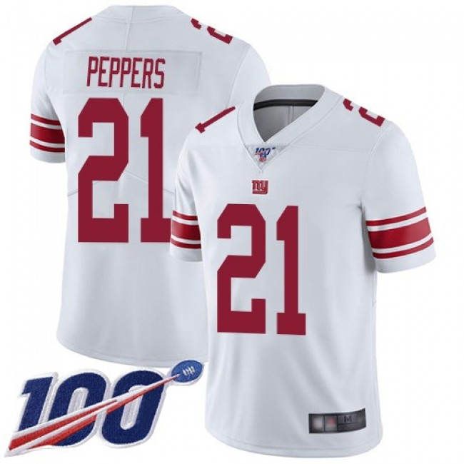 Nike Giants #21 Jabrill Peppers White Men's Stitched NFL 100th Season Vapor Limited Jersey