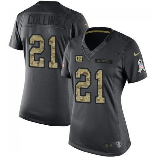 Women's Giants #21 Landon Collins Black Stitched NFL Limited 2016 Salute to Service Jersey