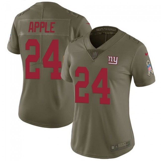 Women's Giants #24 Eli Apple Olive Stitched NFL Limited 2017 Salute to Service Jersey