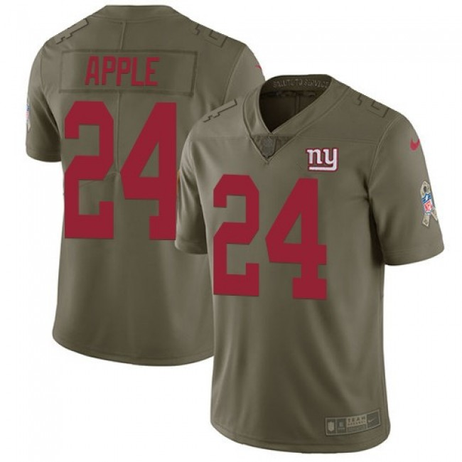 New York Giants #24 Eli Apple Olive Youth Stitched NFL Limited 2017 Salute to Service Jersey