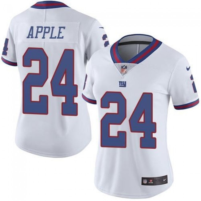 Women's Giants #24 Eli Apple White Stitched NFL Limited Rush Jersey