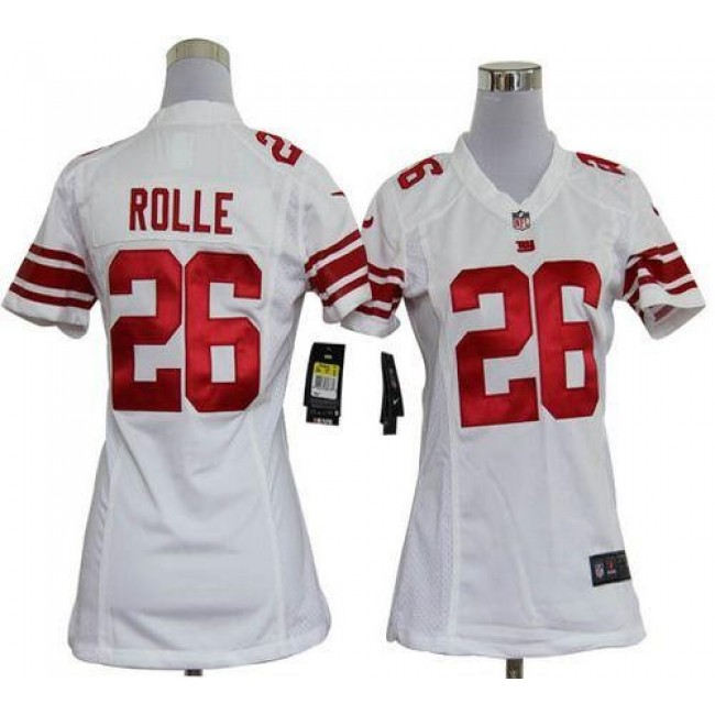 Women's Giants #26 Antrel Rolle White Stitched NFL Elite Jersey