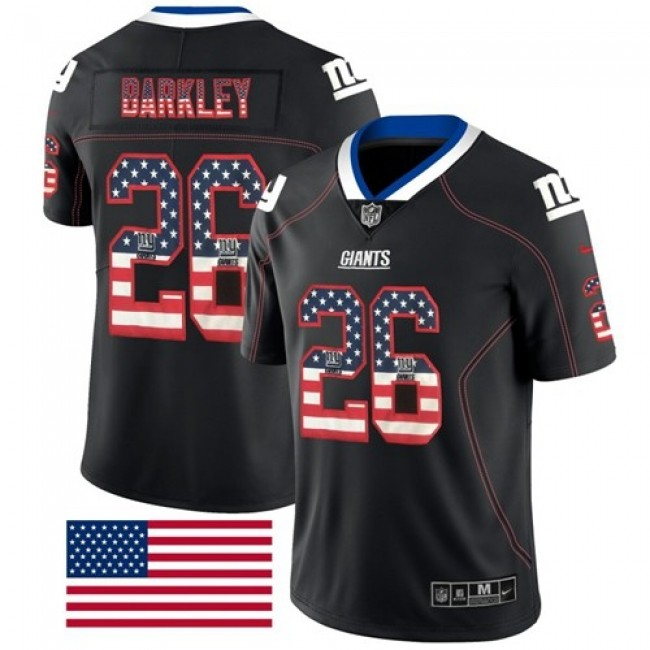 Nike Giants #26 Saquon Barkley Black Men's Stitched NFL Limited Rush USA Flag Jersey