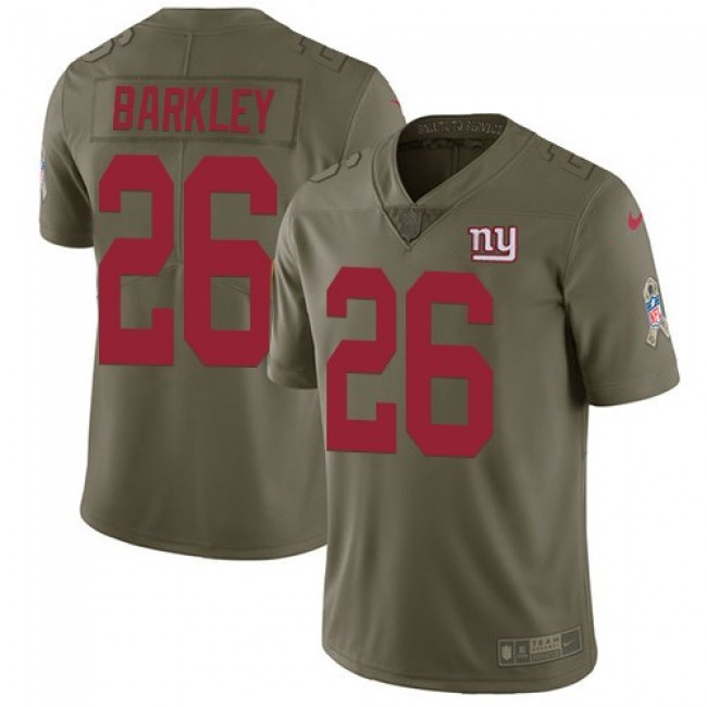 Nike Giants #26 Saquon Barkley Olive Men's Stitched NFL Limited 2017 Salute To Service Jersey