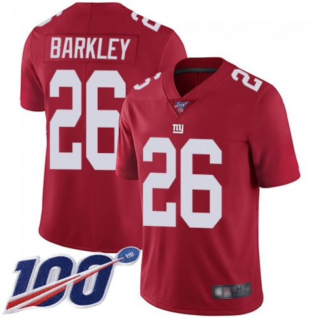 Nike Giants #26 Saquon Barkley Red Alternate Men's Stitched NFL 100th Season Vapor Limited Jersey