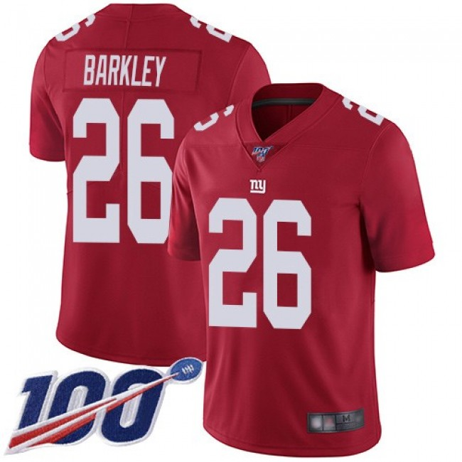 Nike Giants #26 Saquon Barkley Red Men's Stitched NFL Limited Inverted Legend 100th Season Jersey