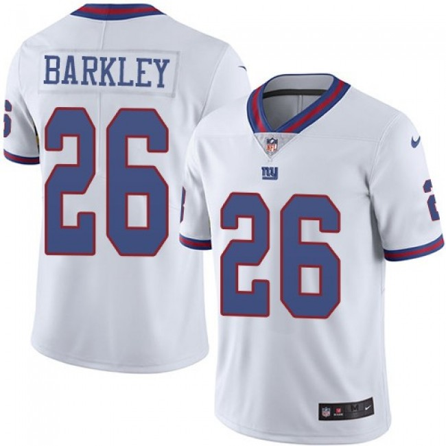 Nike Giants #26 Saquon Barkley White Men's Stitched NFL Limited Rush Jersey