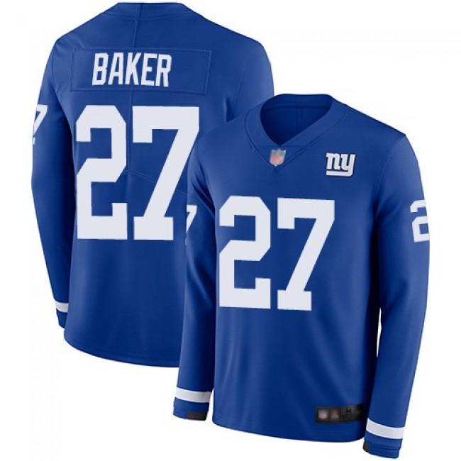 Nike Giants #27 Deandre Baker Royal Blue Team Color Men's Stitched NFL Limited Therma Long Sleeve Jersey