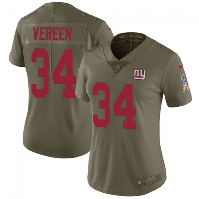 Women's Giants #34 Shane Vereen Olive Stitched NFL Limited 2017 Salute to Service Jersey