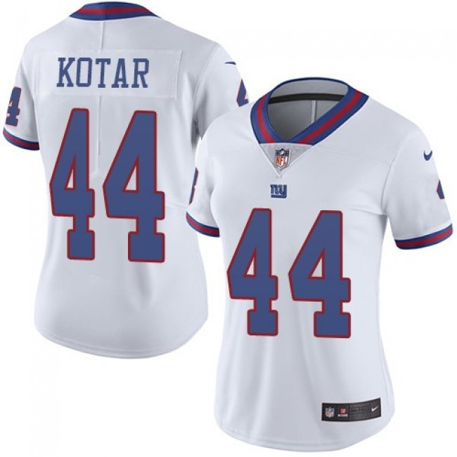 Women's Giants #44 Doug Kotar White Stitched NFL Limited Rush Jersey