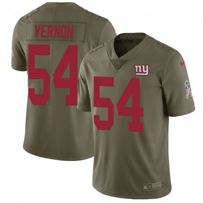 New York Giants #54 Olivier Vernon Olive Youth Stitched NFL Limited 2017 Salute to Service Jersey