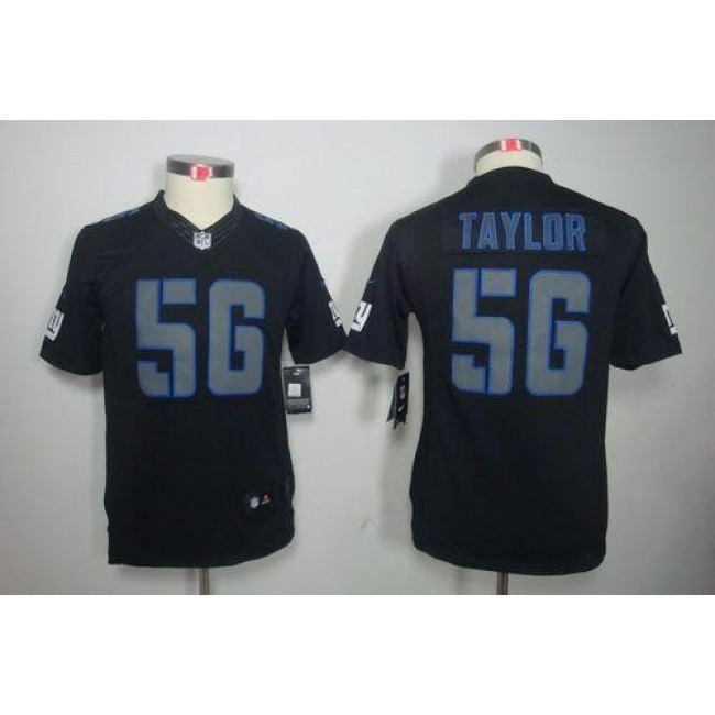 New York Giants #56 Lawrence Taylor Black Impact Youth Stitched NFL Limited Jersey