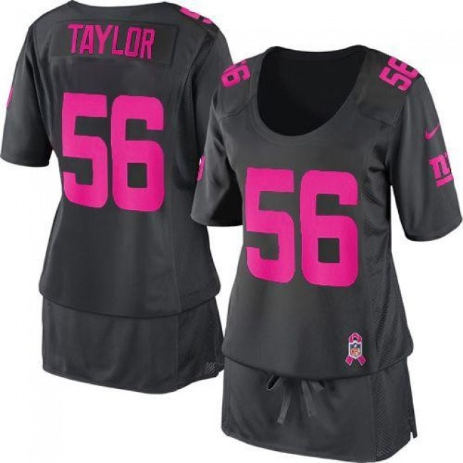 Women's Giants #56 Lawrence Taylor Dark Grey Breast Cancer Awareness Stitched NFL Elite Jersey