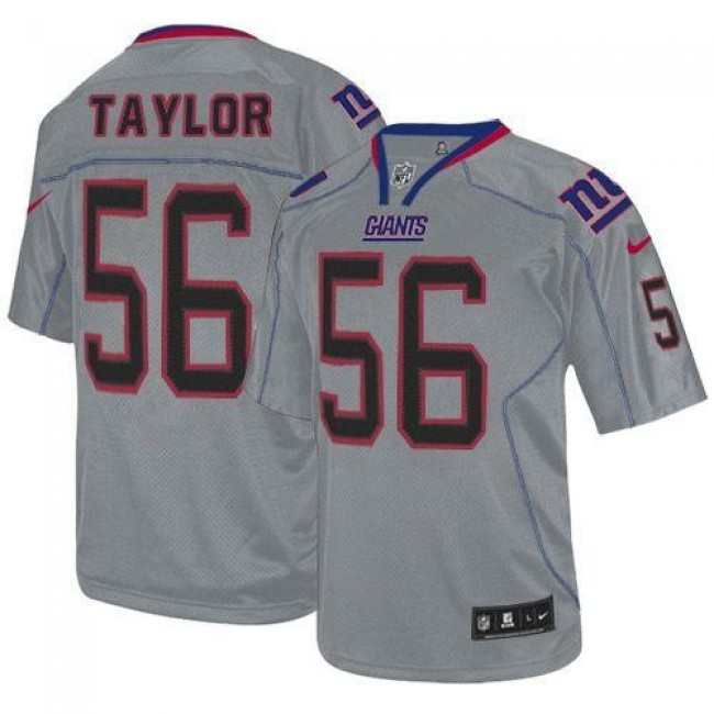 Nike Giants #56 Lawrence Taylor Lights Out Grey Men's Stitched NFL Elite Jersey
