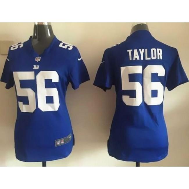 Women's Giants #56 Lawrence Taylor Royal Blue Team Color Stitched NFL Elite Jersey