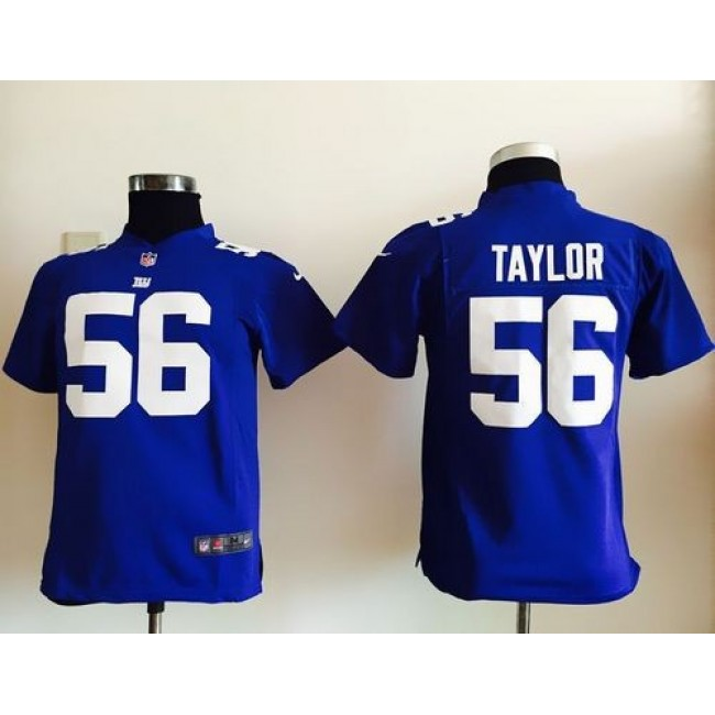 New York Giants #56 Lawrence Taylor Royal Blue Team Color Youth Stitched NFL Elite Jersey
