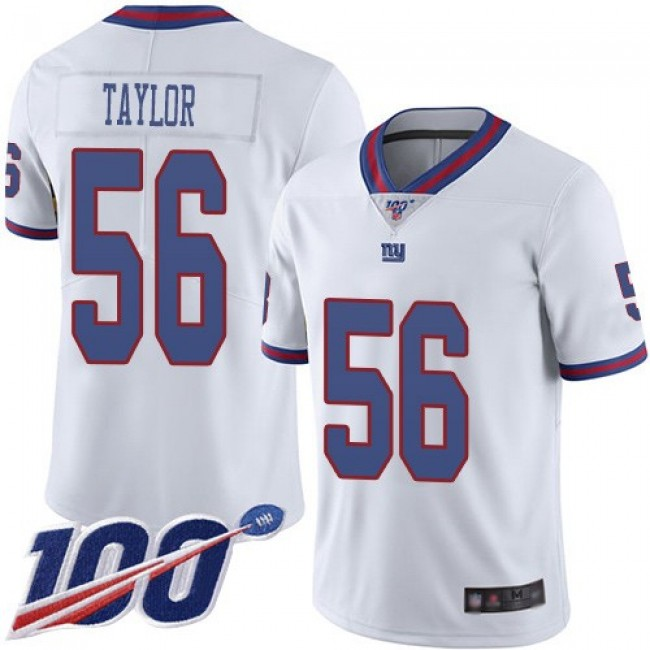Nike Giants #56 Lawrence Taylor White Men's Stitched NFL Limited Rush 100th Season Jersey