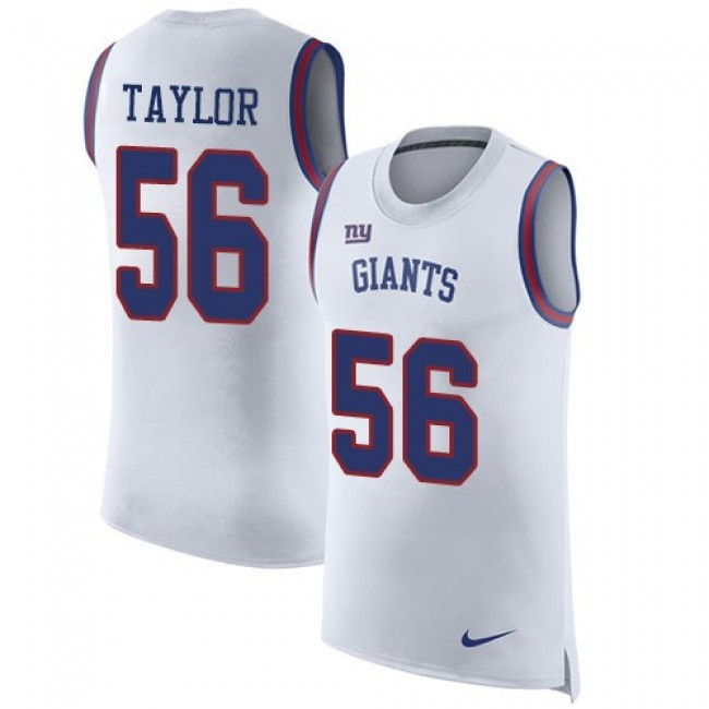 Nike Giants #56 Lawrence Taylor White Men's Stitched NFL Limited Rush Tank Top Jersey
