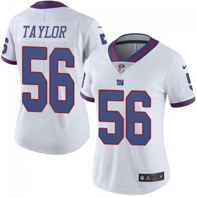 Women's Giants #56 Lawrence Taylor White Stitched NFL Limited Rush Jersey