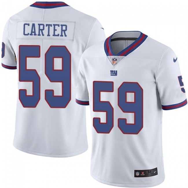 Nike Giants #59 Lorenzo Carter White Men's Stitched NFL Limited Rush Jersey