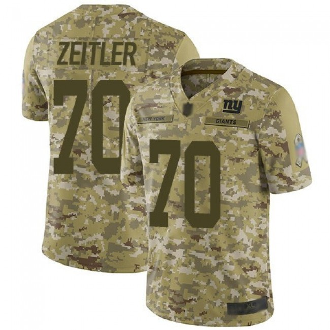 Nike Giants #70 Kevin Zeitler Camo Men's Stitched NFL Limited 2018 Salute To Service Jersey