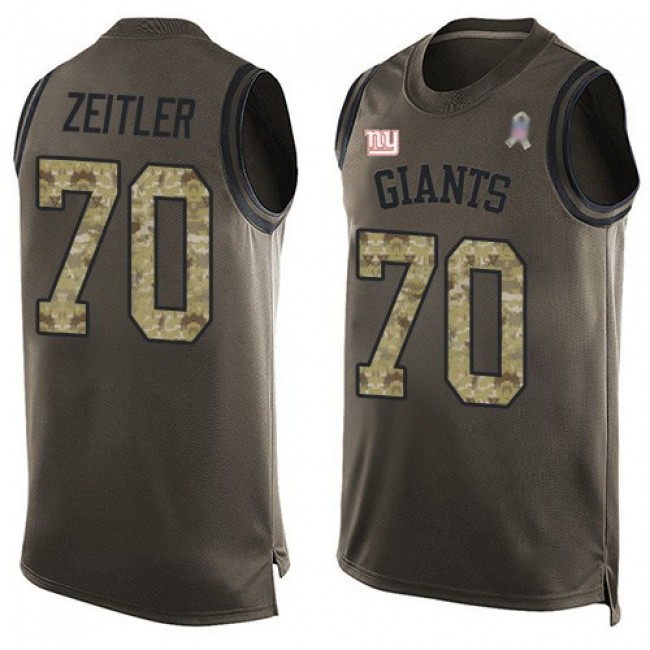 Nike Giants #70 Kevin Zeitler Green Men's Stitched NFL Limited Salute To Service Tank Top Jersey