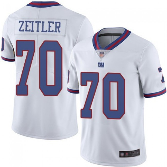 Nike Giants #70 Kevin Zeitler White Men's Stitched NFL Limited Rush Jersey