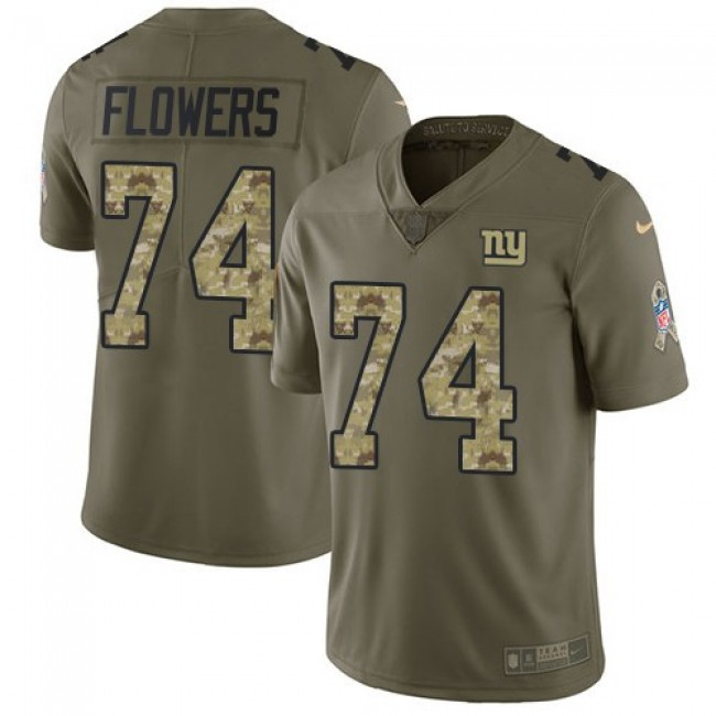 New York Giants #74 Ereck Flowers Olive-Camo Youth Stitched NFL Limited 2017 Salute to Service Jersey