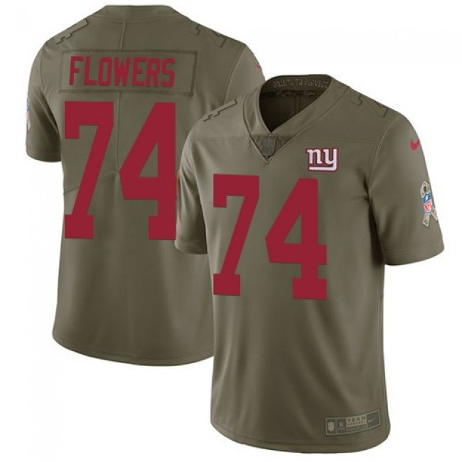 New York Giants #74 Ereck Flowers Olive Youth Stitched NFL Limited 2017 Salute to Service Jersey