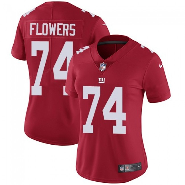 Women's Giants #74 Ereck Flowers Red Alternate Stitched NFL Vapor Untouchable Limited Jersey