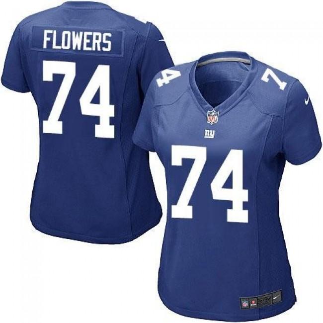 Women's Giants #74 Ereck Flowers Royal Blue Team Color Stitched NFL Elite Jersey