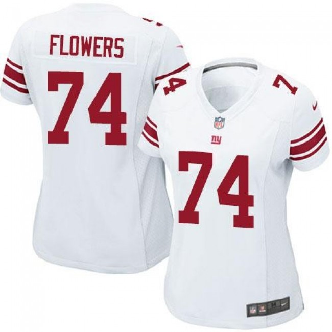 Women's Giants #74 Ereck Flowers White Stitched NFL Elite Jersey