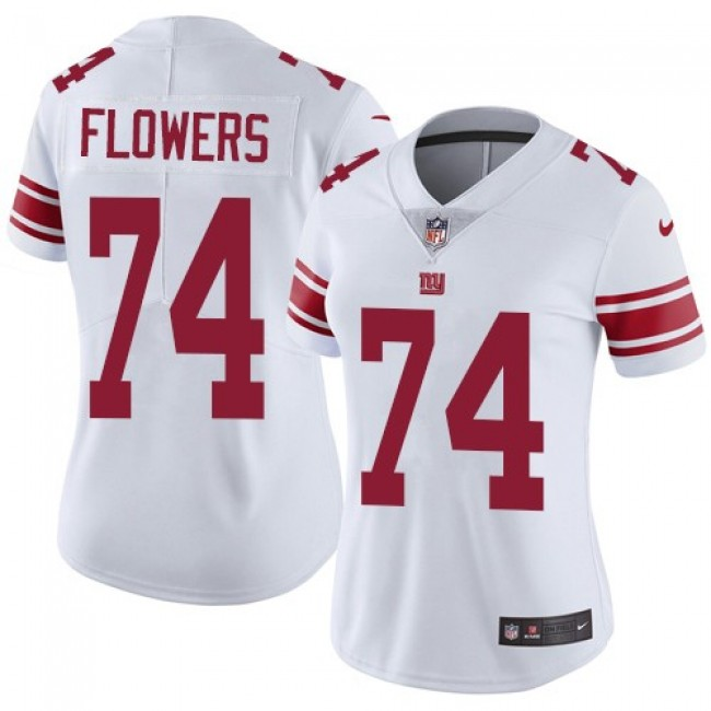 Women's Giants #74 Ereck Flowers White Stitched NFL Vapor Untouchable Limited Jersey