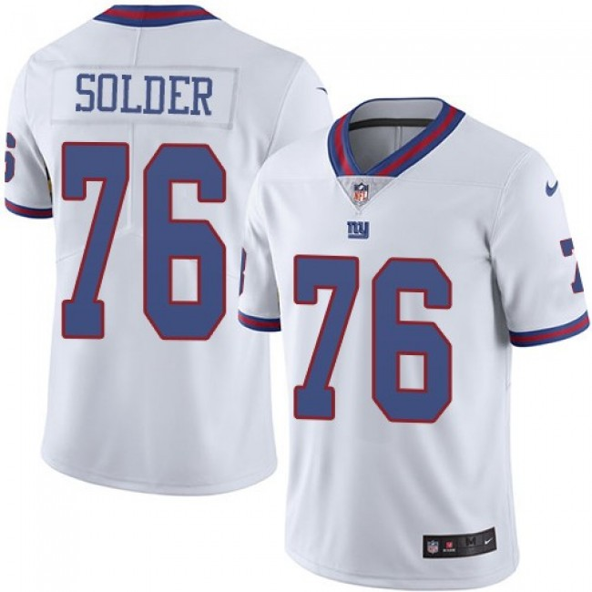 Nike Giants #76 Nate Solder White Men's Stitched NFL Limited Rush Jersey