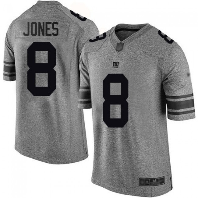 Nike Giants #8 Daniel Jones Gray Men's Stitched NFL Limited Gridiron Gray Jersey