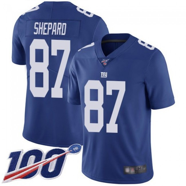 Nike Giants #87 Sterling Shepard Royal Blue Team Color Men's Stitched NFL 100th Season Vapor Limited Jersey