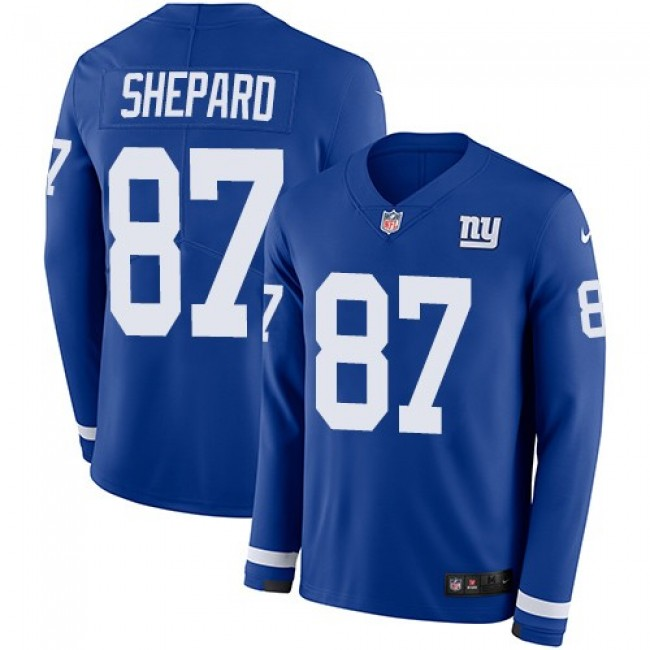 Nike Giants #87 Sterling Shepard Royal Blue Team Color Men's Stitched NFL Limited Therma Long Sleeve Jersey