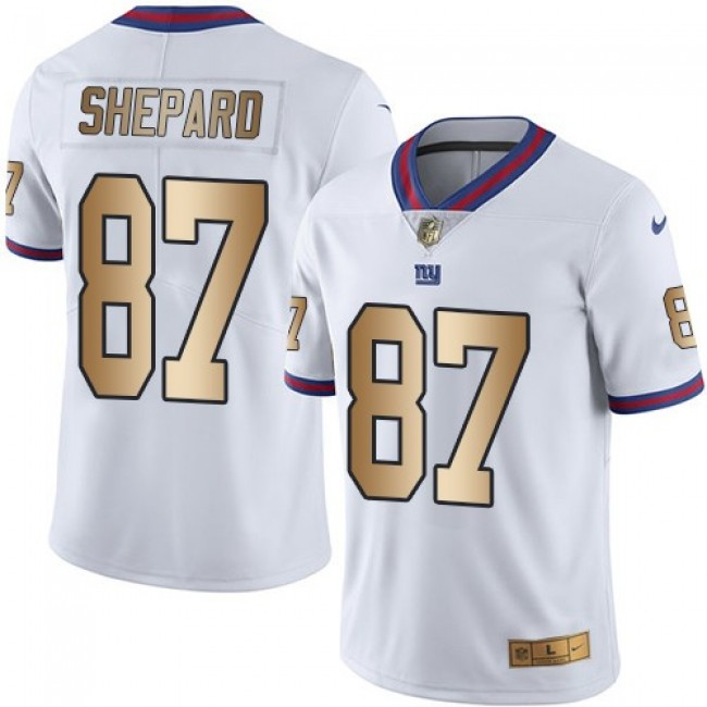 Nike Giants #87 Sterling Shepard White Men's Stitched NFL Limited Gold Rush Jersey