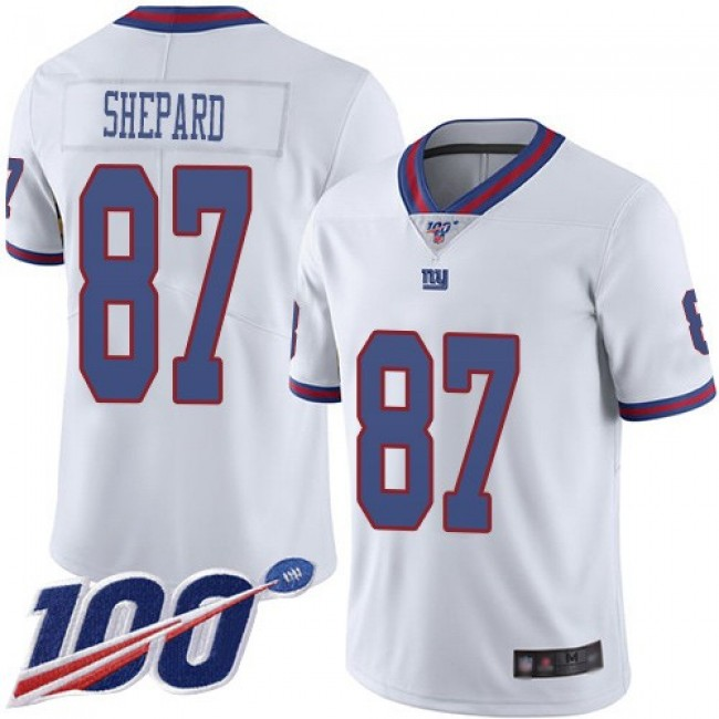 Nike Giants #87 Sterling Shepard White Men's Stitched NFL Limited Rush 100th Season Jersey