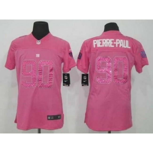 Women's Giants #90 Jason Pierre-Paul Pink Sweetheart Stitched NFL Elite Jersey