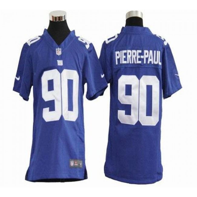 New York Giants #90 Jason Pierre-Paul Royal Blue Team Color Youth Stitched NFL Elite Jersey