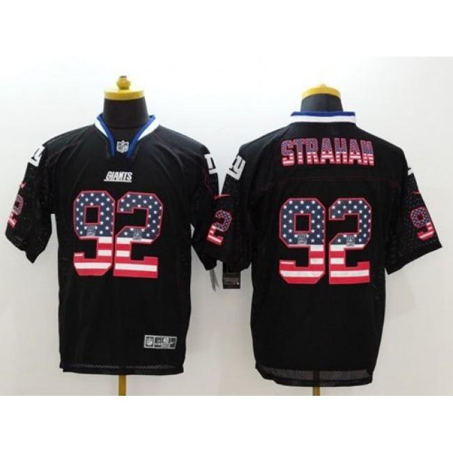 Nike Giants #92 Michael Strahan Black Men's Stitched NFL Elite USA Flag Fashion Jersey