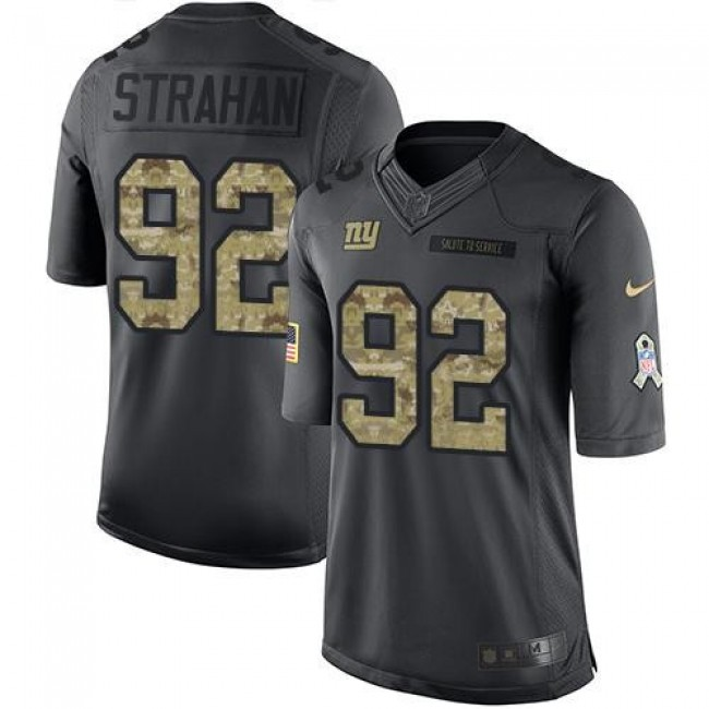 New York Giants #92 Michael Strahan Black Youth Stitched NFL Limited 2016 Salute to Service Jersey