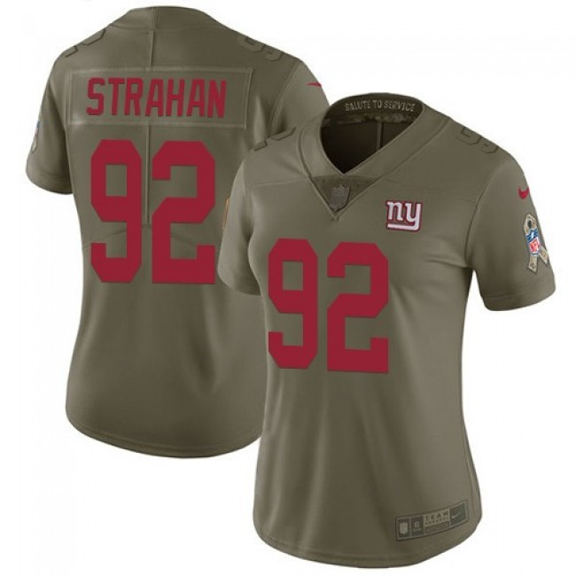 Women's Giants #92 Michael Strahan Olive Stitched NFL Limited 2017 Salute to Service Jersey