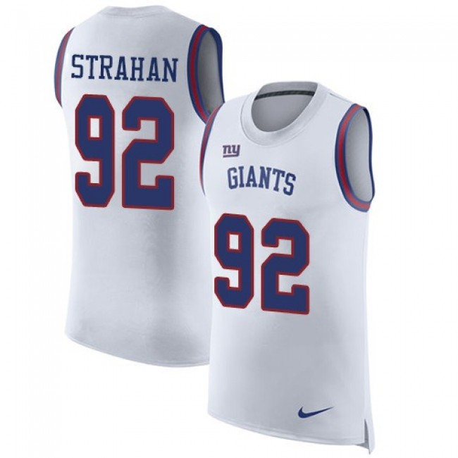 Nike Giants #92 Michael Strahan White Men's Stitched NFL Limited Rush Tank Top Jersey