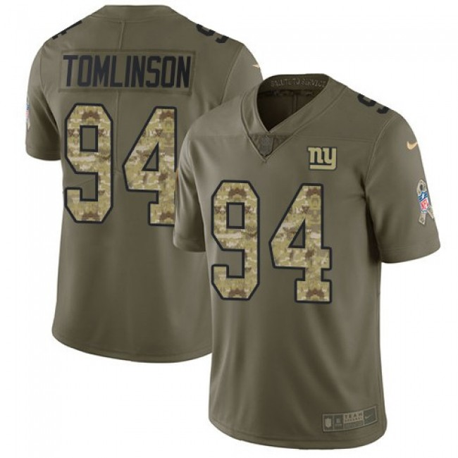 Nike Giants #94 Dalvin Tomlinson Olive/Camo Men's Stitched NFL Limited 2017 Salute To Service Jersey
