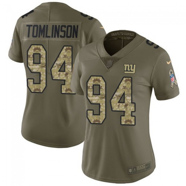 Women's Giants #94 Dalvin Tomlinson Olive Camo Stitched NFL Limited 2017 Salute to Service Jersey