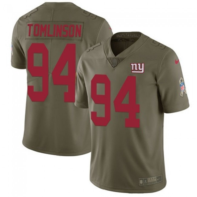 Nike Giants #94 Dalvin Tomlinson Olive Men's Stitched NFL Limited 2017 Salute to Service Jersey